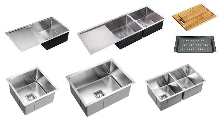 Range of 225mm Deep bowl square drop in/undermount stainless steel kitchen sinks in various sizes and with/out drainer: 810mm & 1160mm with drainer, 455mm, 600mm, 775mm without drainer deep square bowls drop in/undermount stainless steel kitchen sinks. Optional: Accessory pack - chopping board and draining tray/shallow colander from Bathrooms and Kitchens Builders Express Underwood, website www.bathroomsnkitchens.com.au