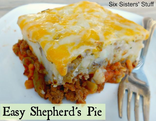 Quick and Easy Shepherd's Pie- this is one of my go-to meals when I need something fast and filling. Kid Approved! SixSistersStuff.com #easydinner