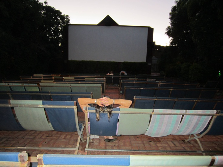 Chilling out at Sun Pictures Broome, before the movie begins.