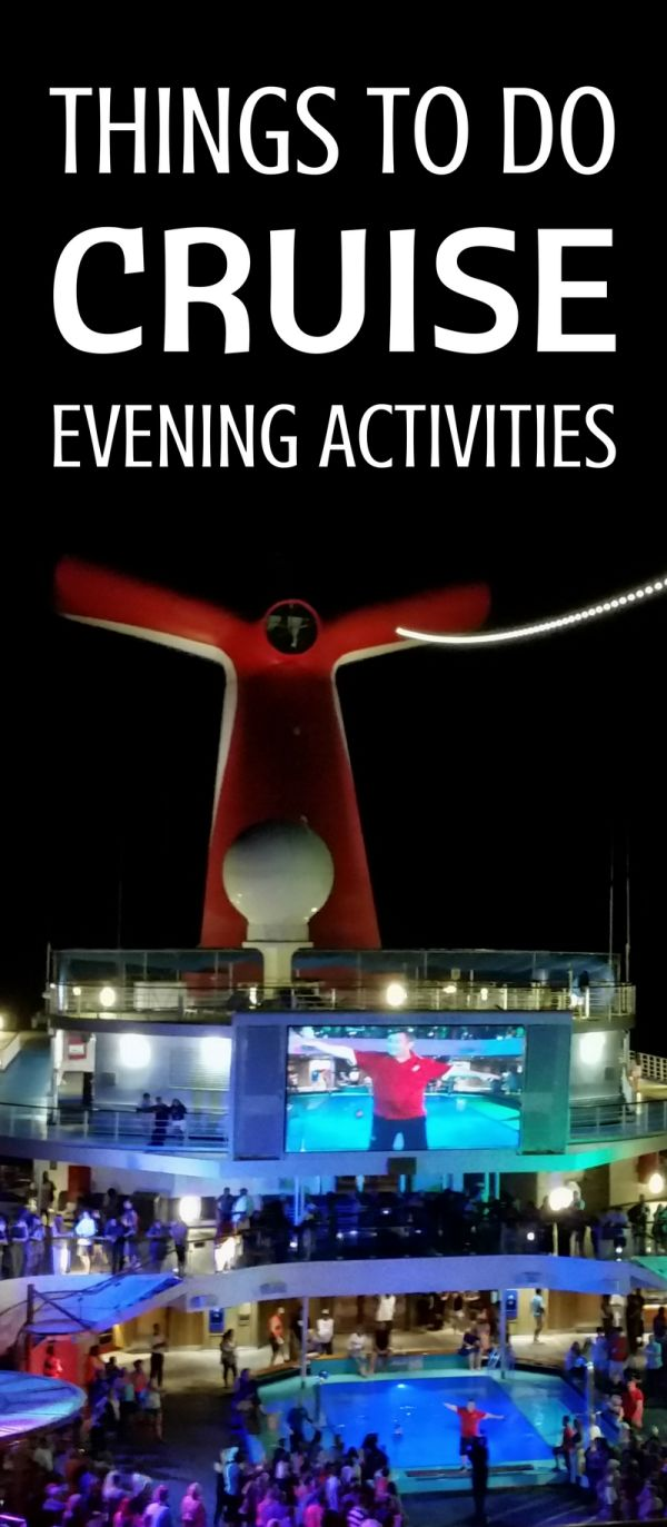 Things to do on a cruise at sea and free fun evening activities at night on a cruise ship for teens, adults, and families! Helpful cruise tips for first-time cruisers to get ideas on what to do on a cruise! Picture: Carnival cruise in the Caribbean!