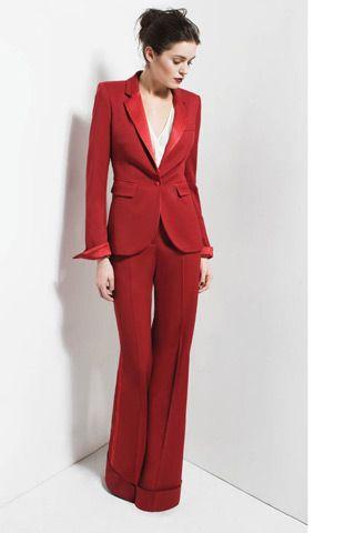 Rachel Zoe red pant suit