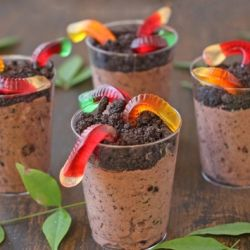 Worms in Dirt Pudding Cups. I remember these from when I was little!