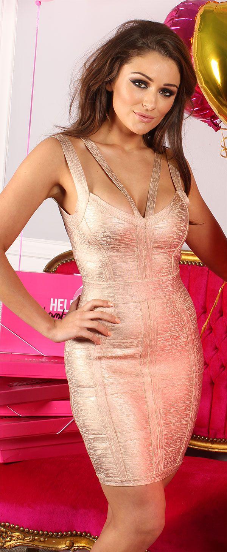 Clothing : Bandage Dresses : 'Danielle' Rose Gold Bandage Dress