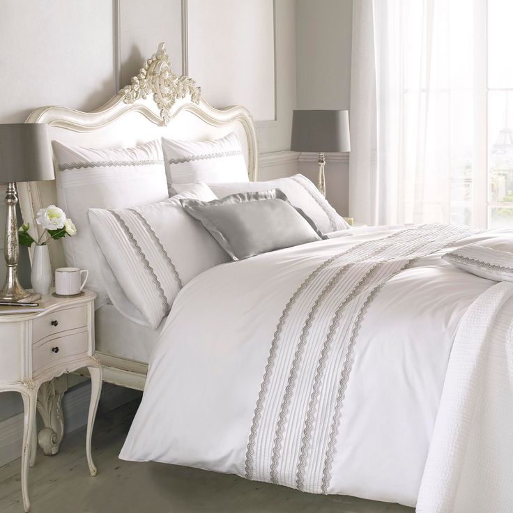Fab-Furnishings : Antique French Lace Holly Willoughby Bedding Set in white with grey trim... tie in with silver decorations in your bedroom to bring on the Christmas decor!! Yet the bedding can be used all year round!! ;-)