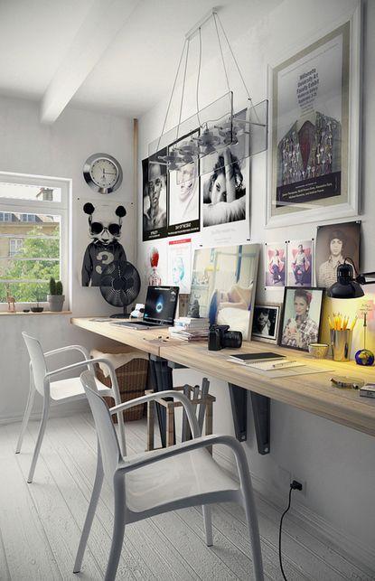 Long plan de travail pour travailler en duo, photo couleur et noir et blanc... J'adore les équerres grises sous le plateau, et le parquet blanc !