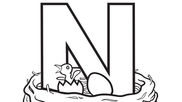Alphabet Series: N - Nest - Grandparents.com Letter N coloring page