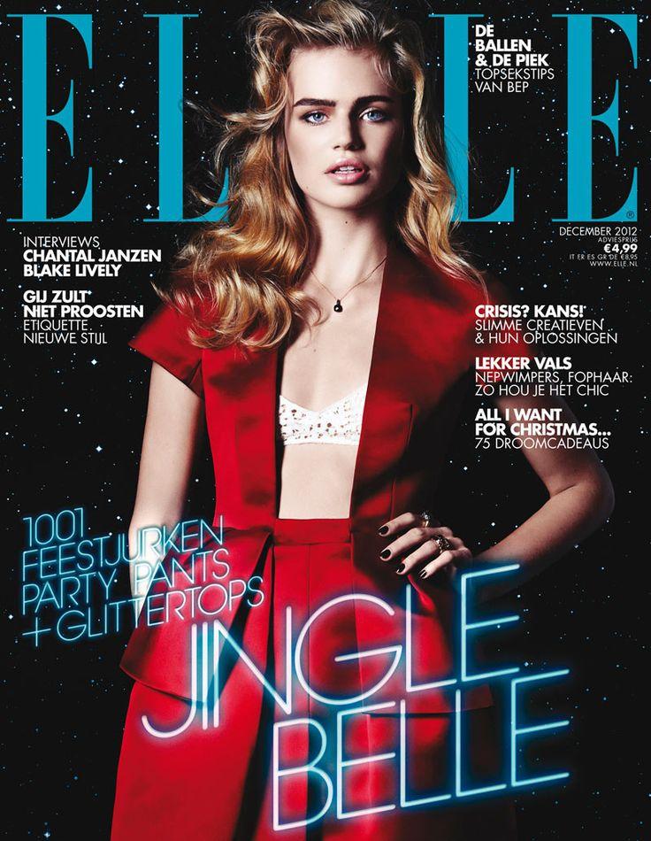Milou Sluis Wears Holiday Red for Elle Netherlands December 2012 Cover
