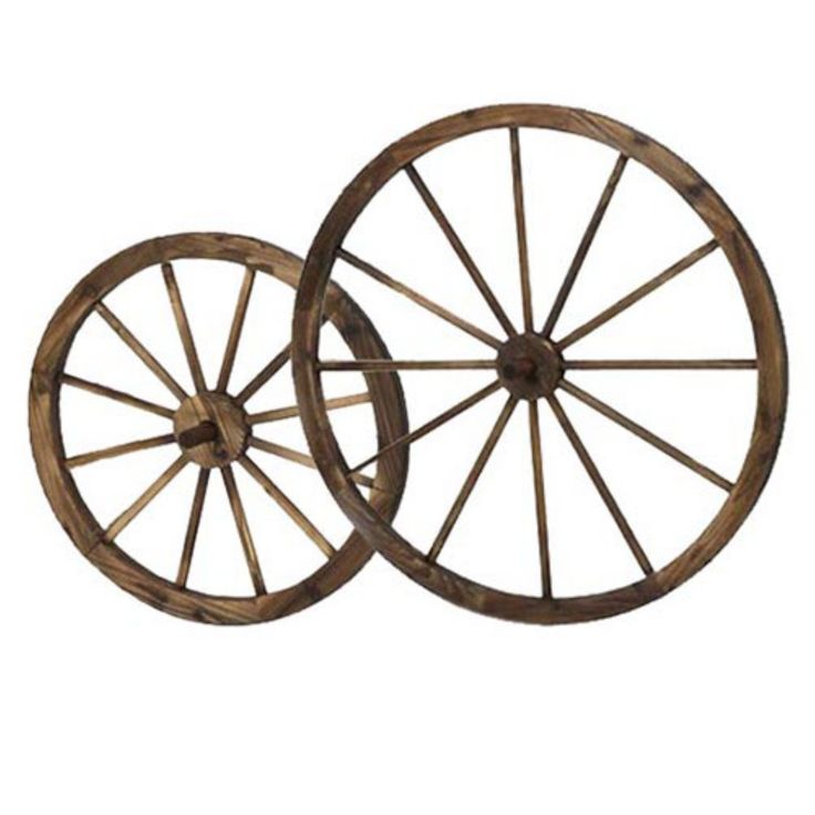 HGC Steel-Rimmed Wooden Wagon Wheels Wall décor - Set of 2 - PL51920-H
