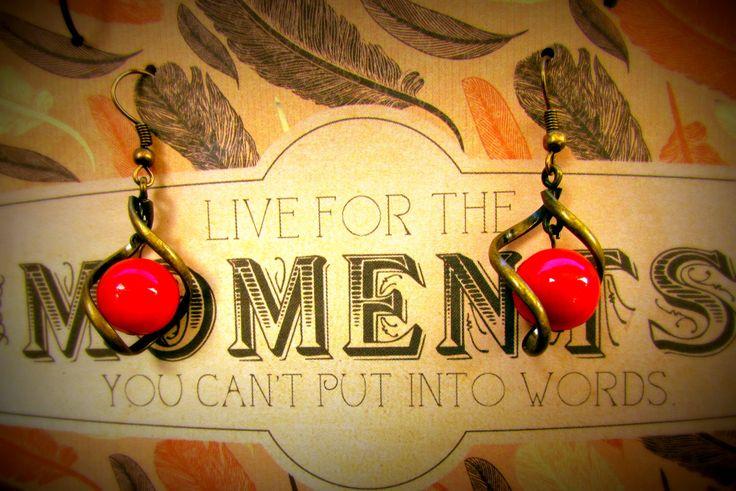 Red Stone and Brass Twist www.madeit.com.au/MadeByKasame