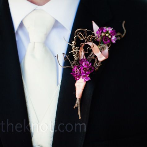 purple twig boutonniere
