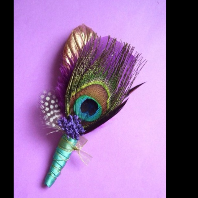 Peacock wedding decor- with peacock feather and lavender and blue ribbon only