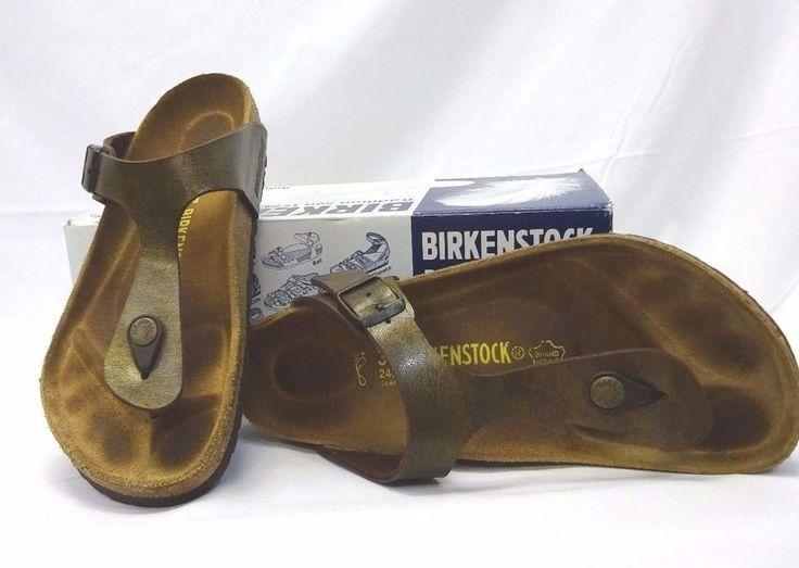 BIRKENSTOCK Gizeh Birko-Flor Gold Braun Bronze Thong Sandals Womens Sz 37 Shoes #Birkenstock #Thong