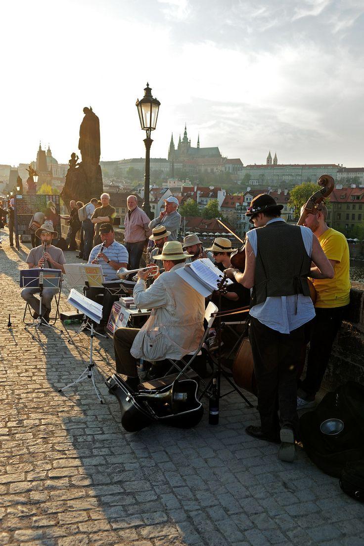 Music on a bridge in Prague