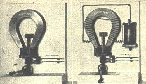EVOLUCIÓN del electroimán. (Izquierda) Saxton, 1833; Dos bobinas de alambre giran en frente de los polos de un imán de acero. La corriente inducida se lleva a cabo a la línea por un cepillo o colector. (Derecha) Wheatstone, 1845; Para obtener más potentes imanes, Wheatstone utiliza electroimanes que fueron excitados por energía galvánica.
