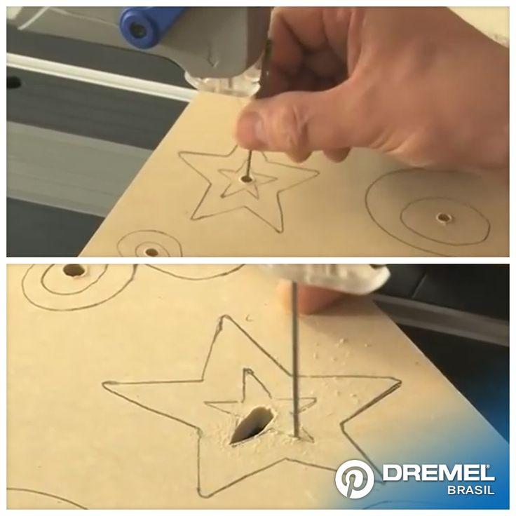 2° Passo: Antes de começar a calcar o desenho, temos que furar a madeira usando uma broca de 8 mm, uma vez realizado o furo colocar a lâmina da Moto-serra passando pela perfuração realizada anteriormente.