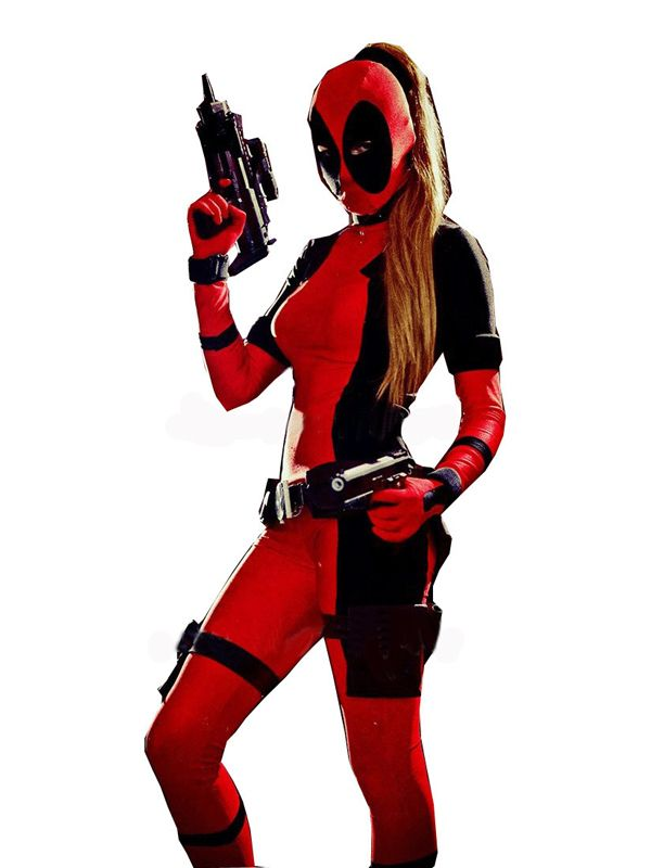 Cool Lady Deadpool Costume Red full body spandex girl women female Deadpool Costumes