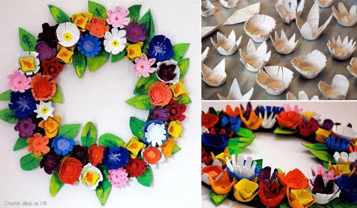 RICICLO: Una ghirlanda di fiori con il contenitore di cartone delle uova.