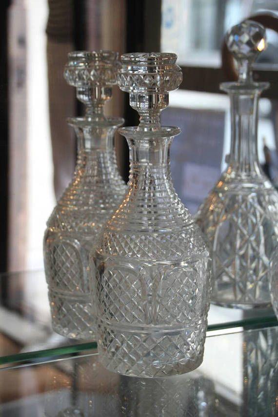 Baccarat crystal decanter, Crystal decanter, Crystal Baccarat, Baccarat France 1900, French vintage crystal decanter, French antique crystal