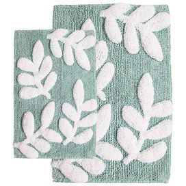 """Refresh your powder room or guest suite with this lovely cotton bath mat set, showcasing a leaf motif for eye-catching appeal.     Product: Small and large bath mat   Construction Material: Cotton and latex   Color: Moonstone and white   Features:  Machine-tufted     Anti-skid spray latex backing  Pile Height:1"""" Dimensions:Small: 17"""" x 24""""Large: 21"""" x 34""""      Cleaning and Care: Machine wash cold on gentle cycle. Use non-chlorine bleach when needed. Tumble dry low."""