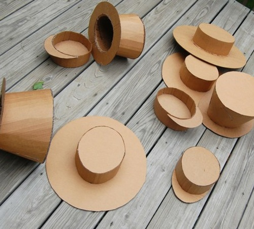 DIY Cardboard Hats - instructions for a ladies tea party hat, railroad engineer and a Mad Hatter Top Hat!: