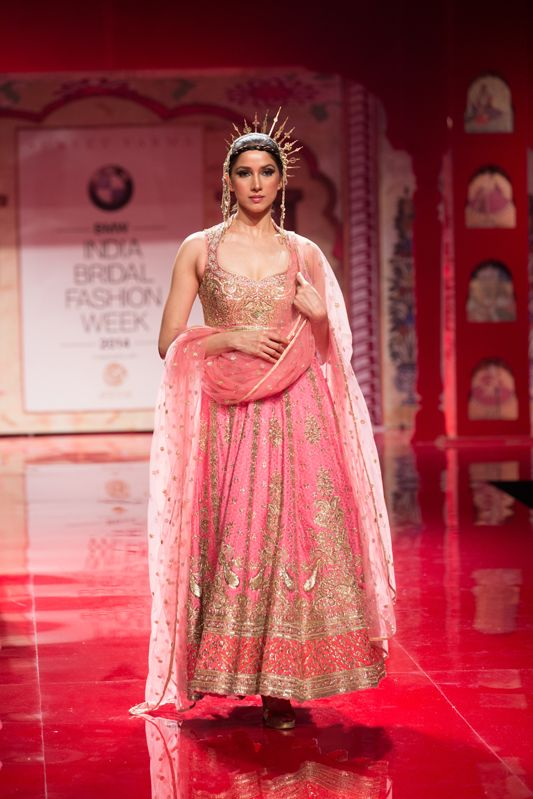 Beautiful pink and gold anarkali by Suneet Varma. More here: http://www.indianweddingsite.com/bmw-india-bridal-fashion-week-ibfw-2014-suneet-varma/