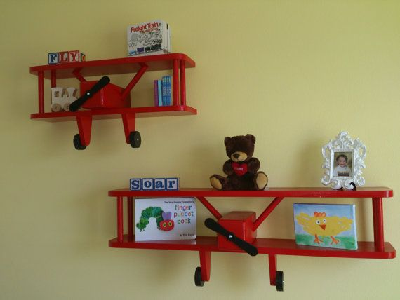 30 Childrens Airplane Shelf by RobbiesWoodShop on Etsy, $55.00