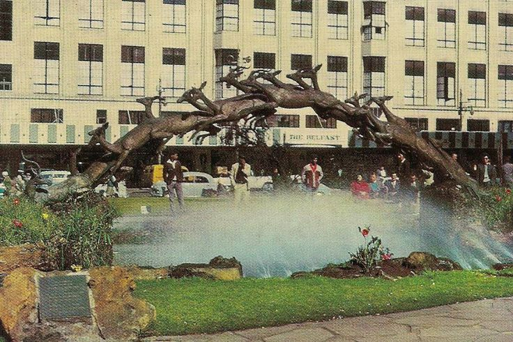 The Oppenheimer Fountains, Market Street - opposite the Belfast store - Johannesburg. The impala stampede statue now stands at 44 Main St.