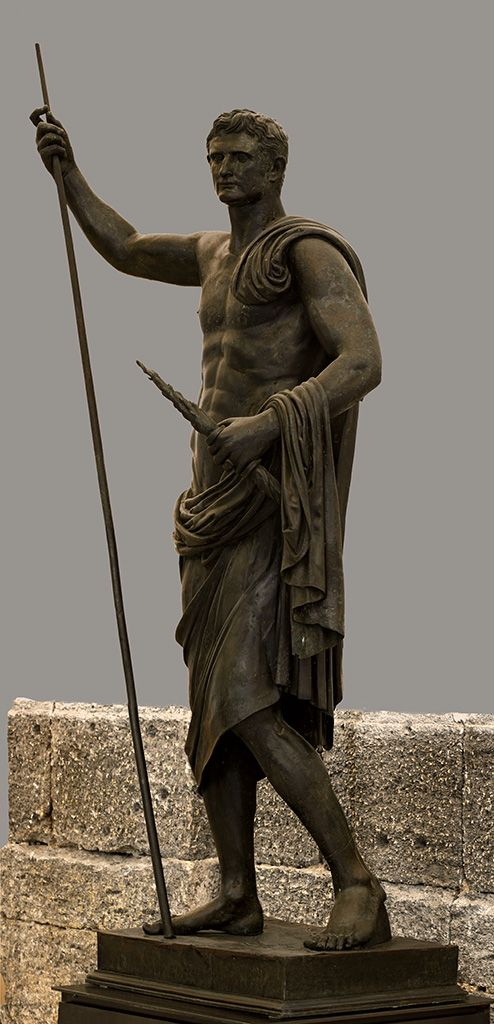 Augustus as hero, Roman statue (bronze), 1st century AD, (Museo Archeologico Nazionale, Naples).