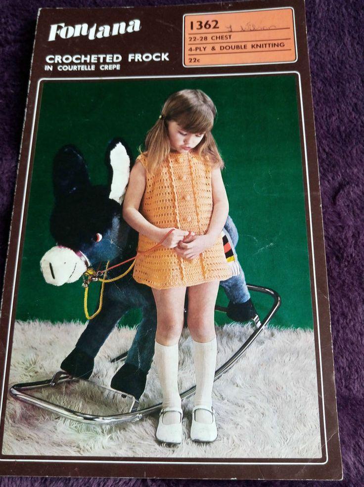 Girl's Crochet Dress vintage Patons 1362 pattern 4 ply & DK yarn #Patons
