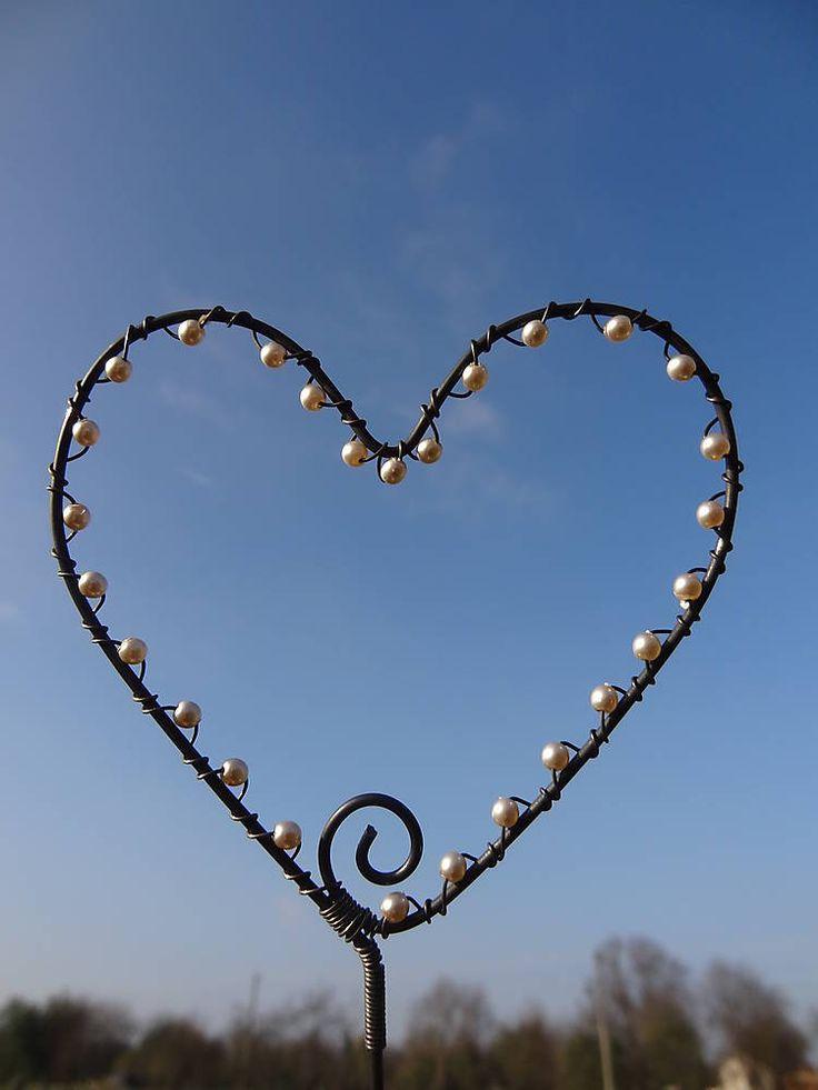 Dekorácie - zápich...orosené srdce... - 4644086_