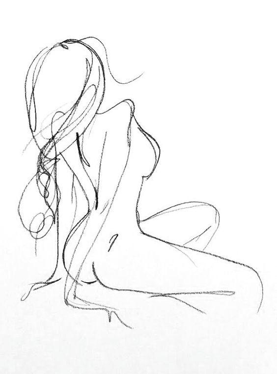 Original Charcoal féminin esquisse - Portrait de la Figure féminine - salle de bains Chambre d'Art Art - dessin de nu un minimum romantique Sexy: