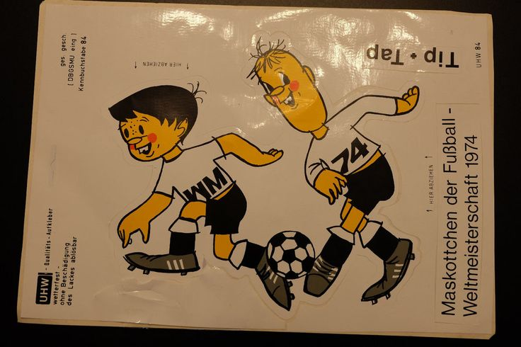 B691 AUFKLEBER Weltmeisterschaft WM 1974 Tip Tap Bundesliga Fußball DFB 24x21cm  | eBay