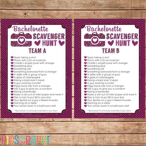 Bachelorette Photo Scavenger Hunt Game | Mygrafico | Mygrafico