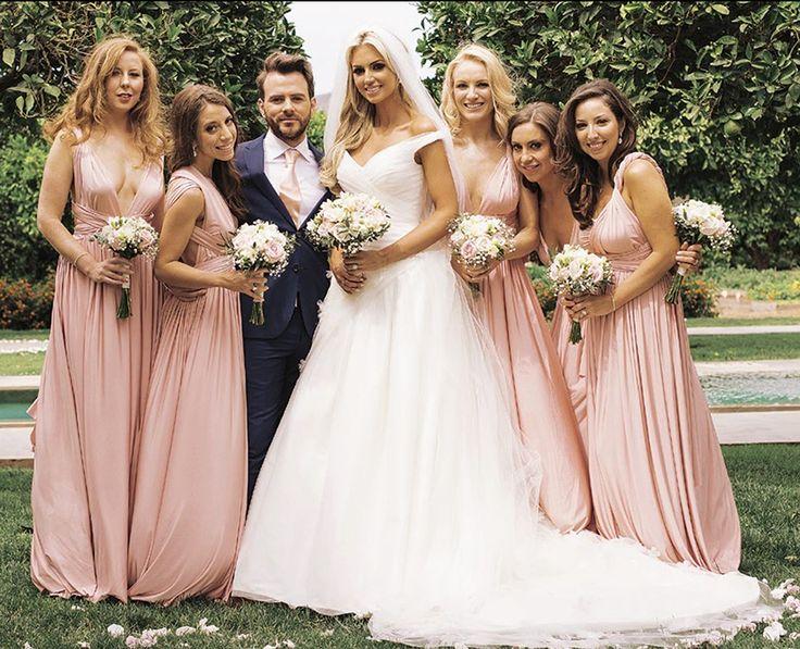 Rosanna Davison (Former Miss World)'s wedding in Ibiza. Bridesmaids wearing Eliza & Ethan MultiWrap Dress in Dusty Rose.