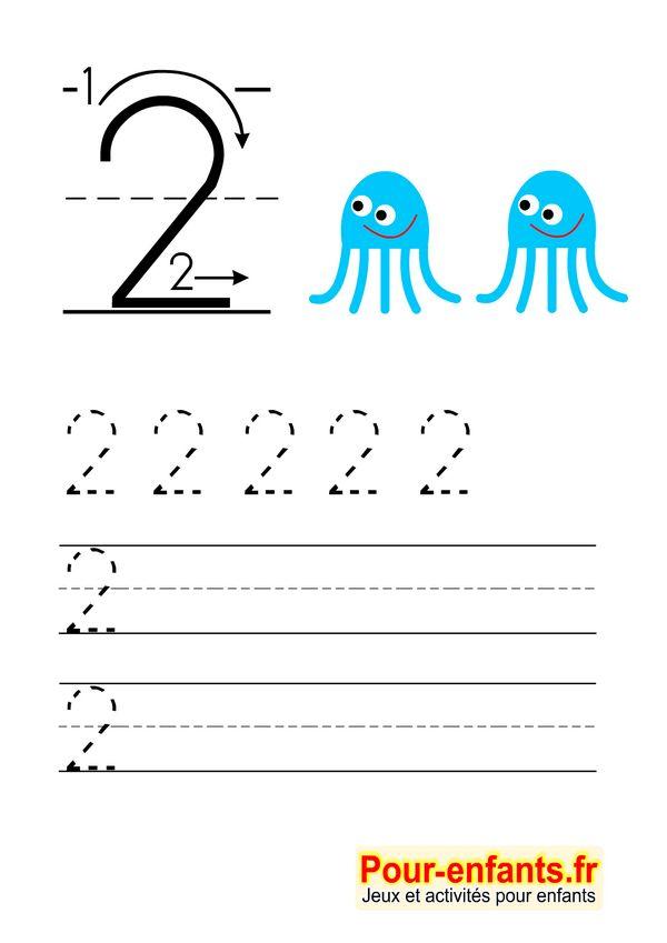 Apprendre à écrire les chiffres en maternelle gratuit cahier d'écriture à imprimer gratuitement Savoir écrire 2 deux