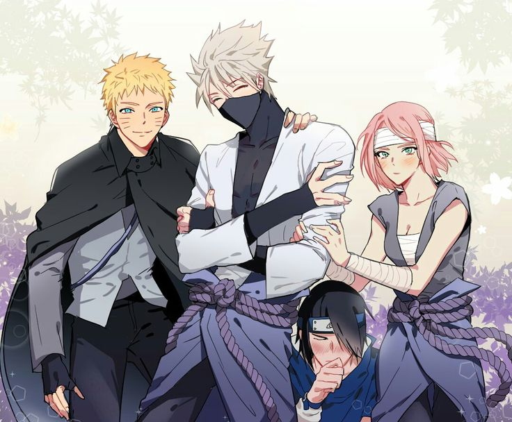 Team 7 ||• haha...i lit. Love how they all wear sasuke's ninja suit or clothes or whatever u wanna call it. TAKE OF YOUR SHIRT KAKASHI. I mean the damn mask, and did i say Sakura looks good in that? Sasuke...hehehe..Ik Saku's adorable in that xP