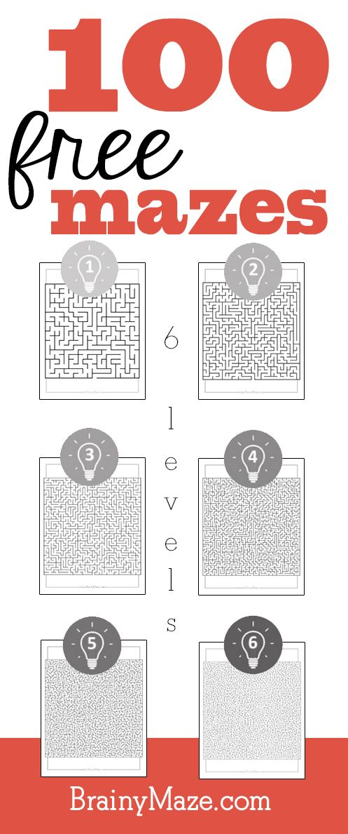 100 free printable mazes to build logic and reasoning skills.  Six levels of play from beginner to maze master.  www.BrainyMaze.com
