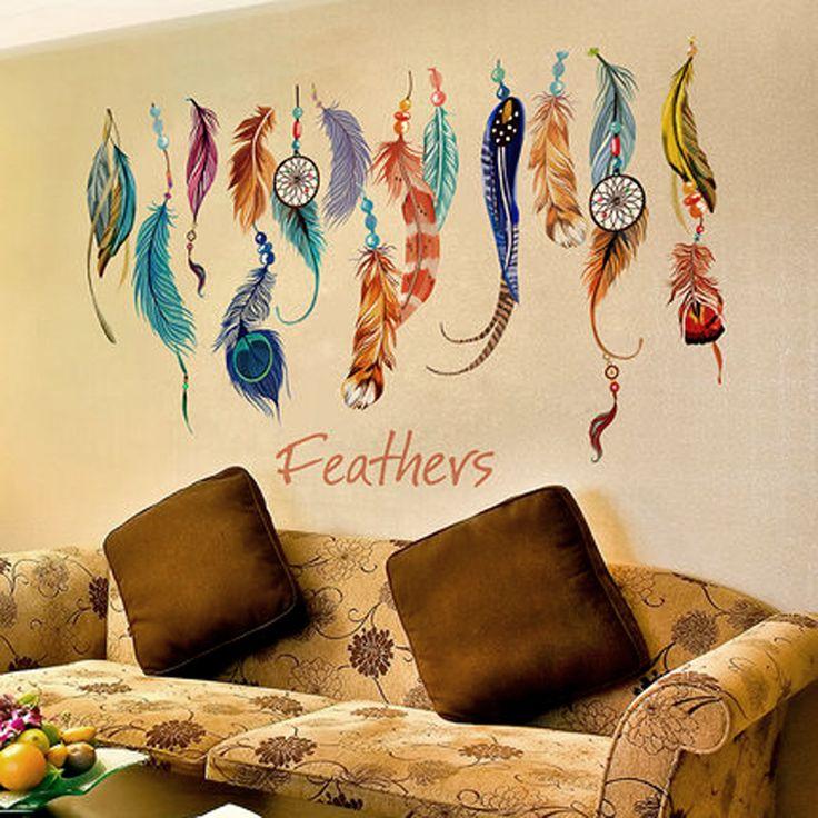 Классический творческий ловца снов перо стикер стены искусство наклейка фреска лаки спальня обои украшения дома подарки Parede купить на AliExpress
