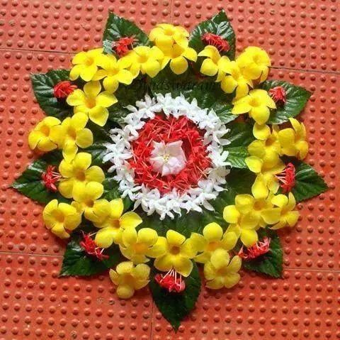 rangoli with flowers and leaves flower inspiration
