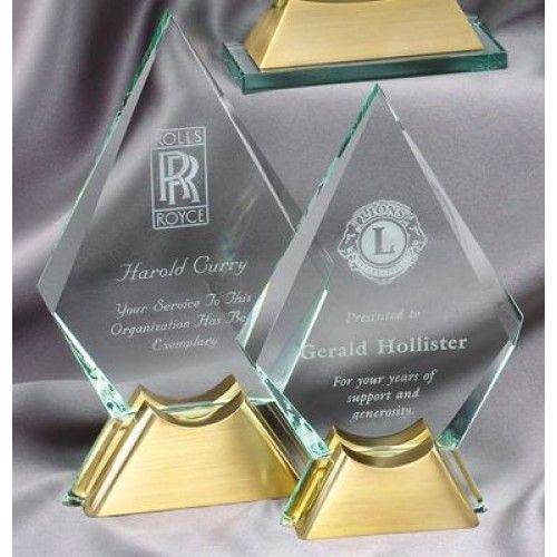 "Our Diamond Glass Award with Gold Metal Base features a 1/2"" thick glass engraving area mounted on a gold metal base.  GL41 is 5.5"" x 9"" and GL42 is 5.75"" x 9.75"".  Each include free personalized engraving."