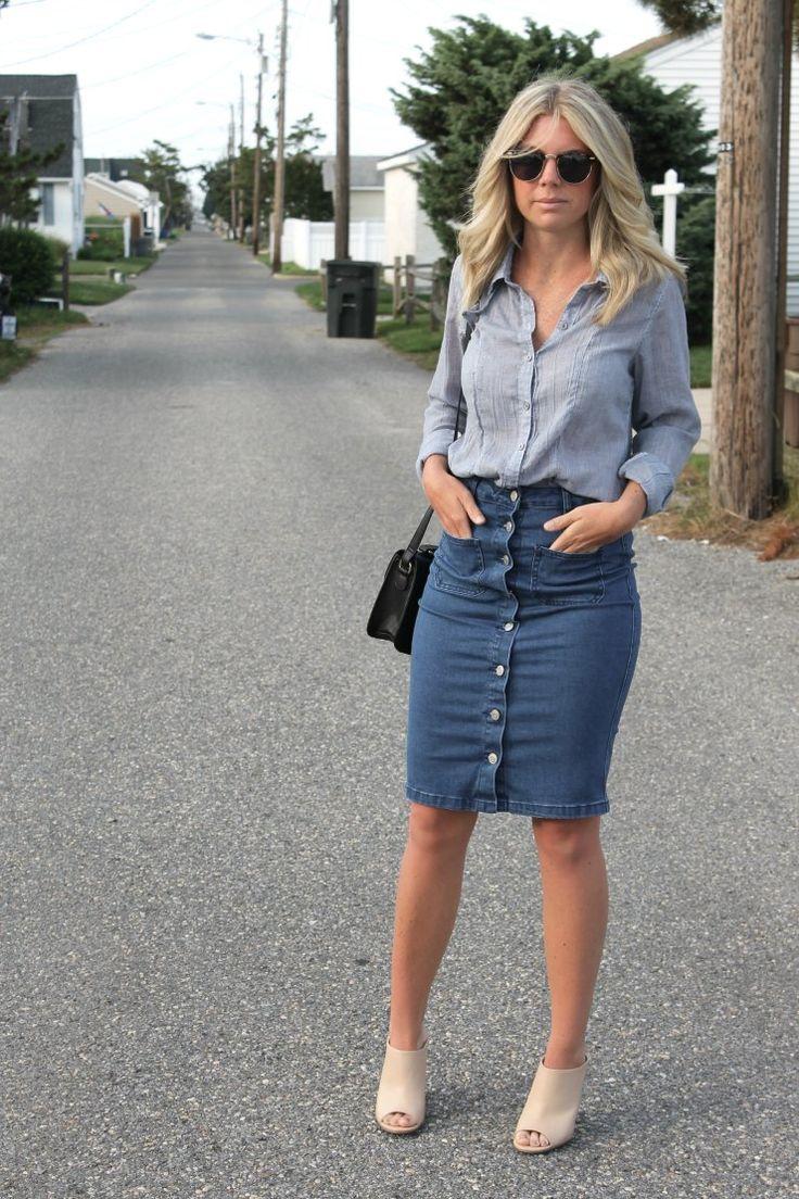 cool Длинные и короткие джинсовые юбки (50 фото) — Модные тенденции 2017