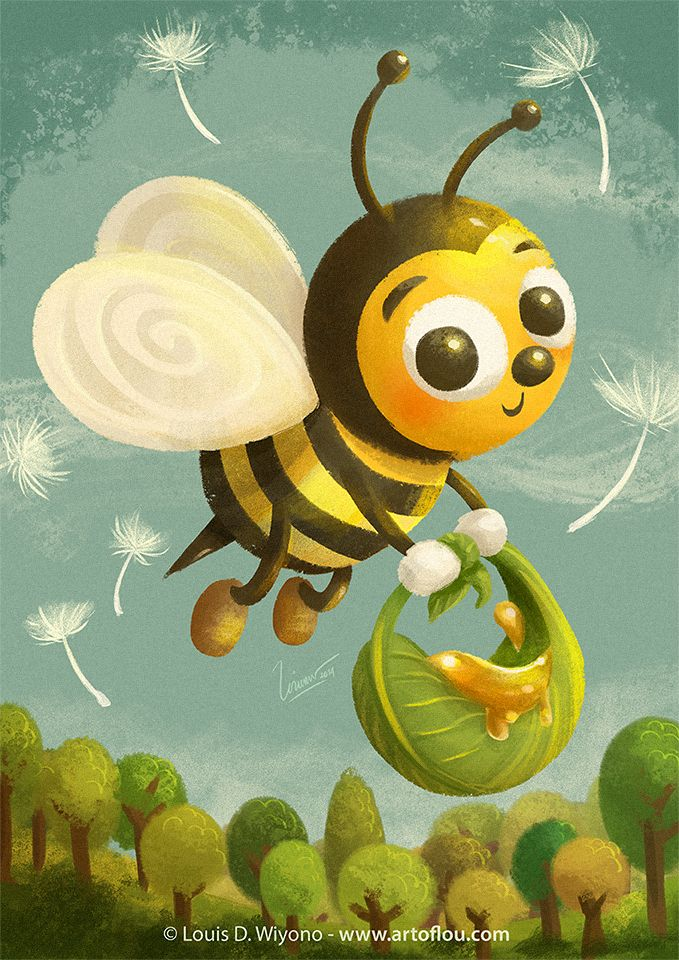 Beezy Bee - by Louis D. Wiyono. Print available!  #art #illustration #children