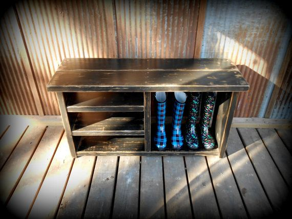 42 Shoe Rack Bench with Boot Cubby Turquoise by TheHenryHouse