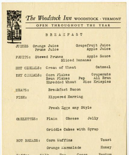 Woodstock Inn Vermont Breakfast Menu 1947 Culinary