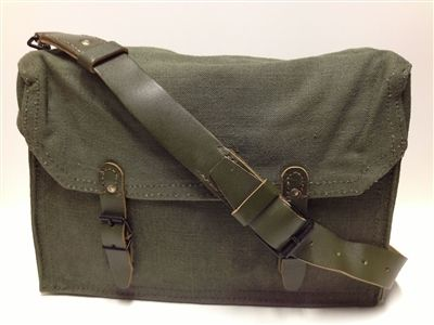 Only a few left, these are nearly bullet proof! French Military Surplus Vintage Bicycle Pannier Ammo Bag Green Canvas