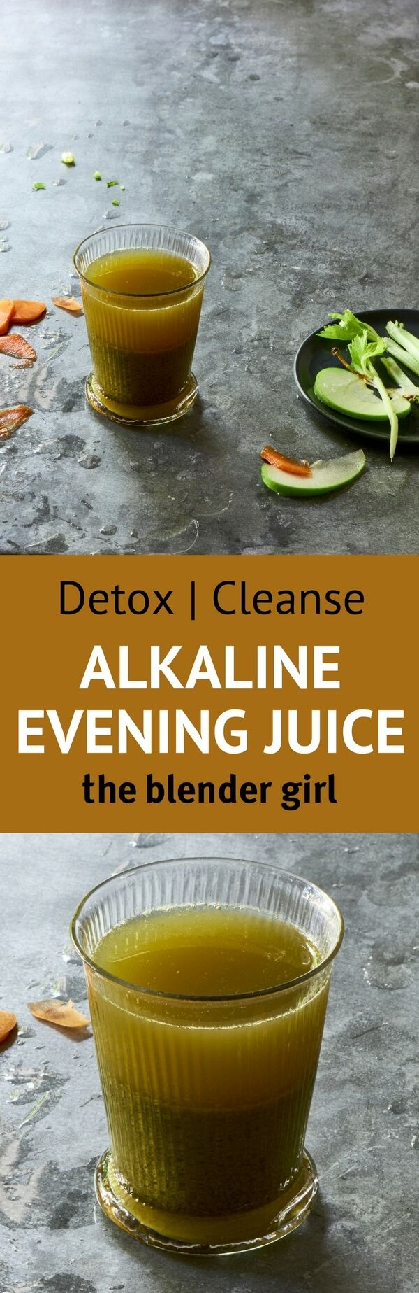 This alkaline green juice with spinach, carrots, apple, lemon, and burdock root is a great way to cleanse in the winter.