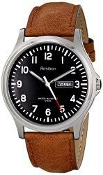 Armitron Men's 20/4996BKSVTN Day/Date Function Easy To Read Tan Leather Strap Watch