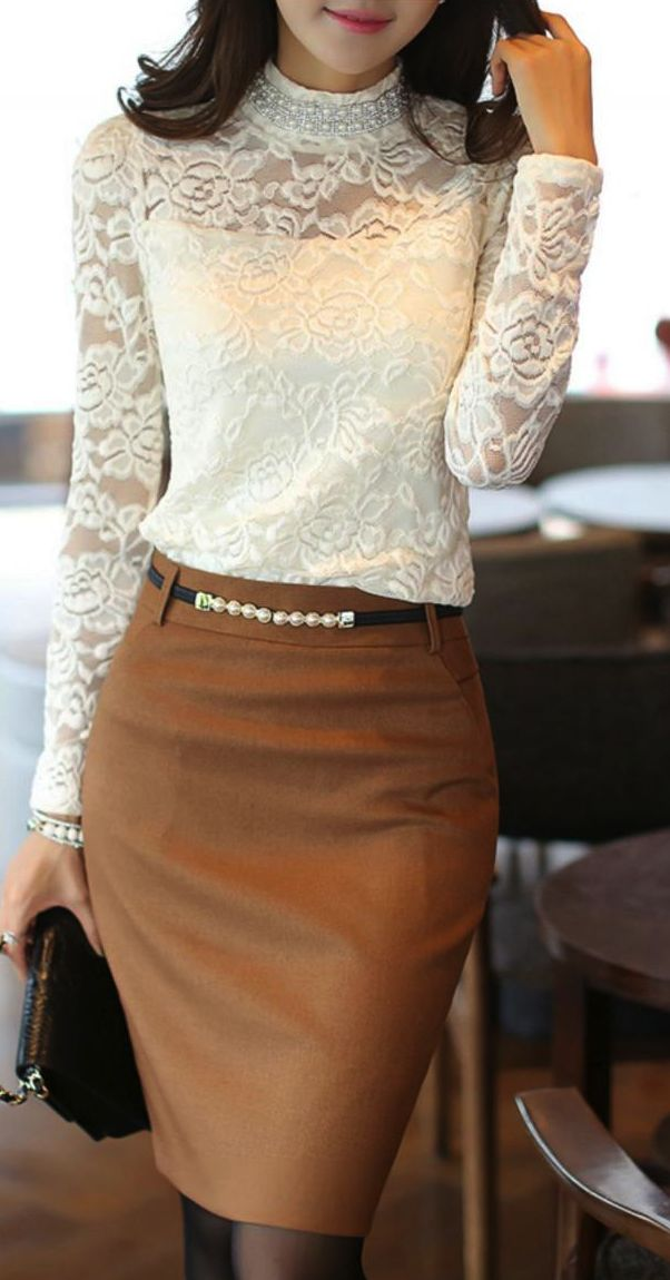 Beautiful White Turtle Neck Lace Blouse