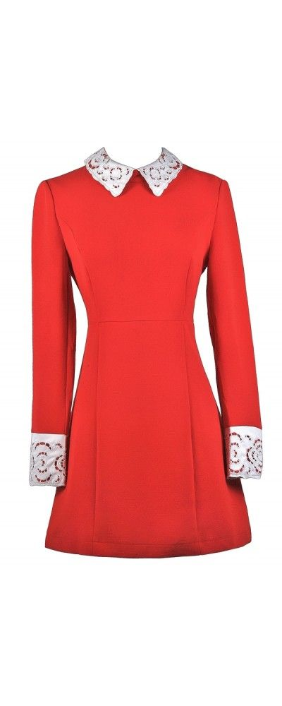 Lily Boutique Daring and Demure Red Lace Peter Pan Collar Dress www.lilyboutique.com
