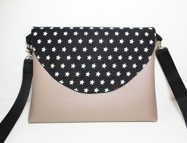 sac à main à rabat bandoulière réglable simili cuir et tissu étoiles
